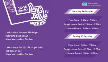 Derry Mass Vaccination Centre to open this weekend for 'Big Jab Weekend'
