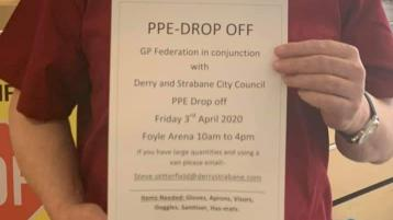 Urgent appeal for anyone with Personal Protection Equipment to bring it to a drop-off facility in Derry tomorrow