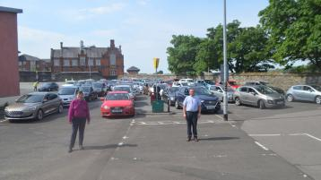 Derry's first drive-in religious service during the pandemic is held in a city centre car park
