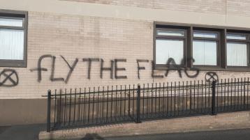 Grafitti daubed on council buildings