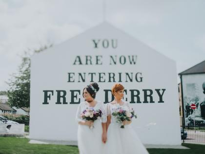 Wedding picture of Emma Bradley and Danielle Doherty at Derry/same-sex