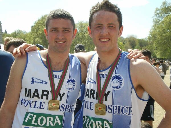 Marty with friend Barry Smith at London Marathon