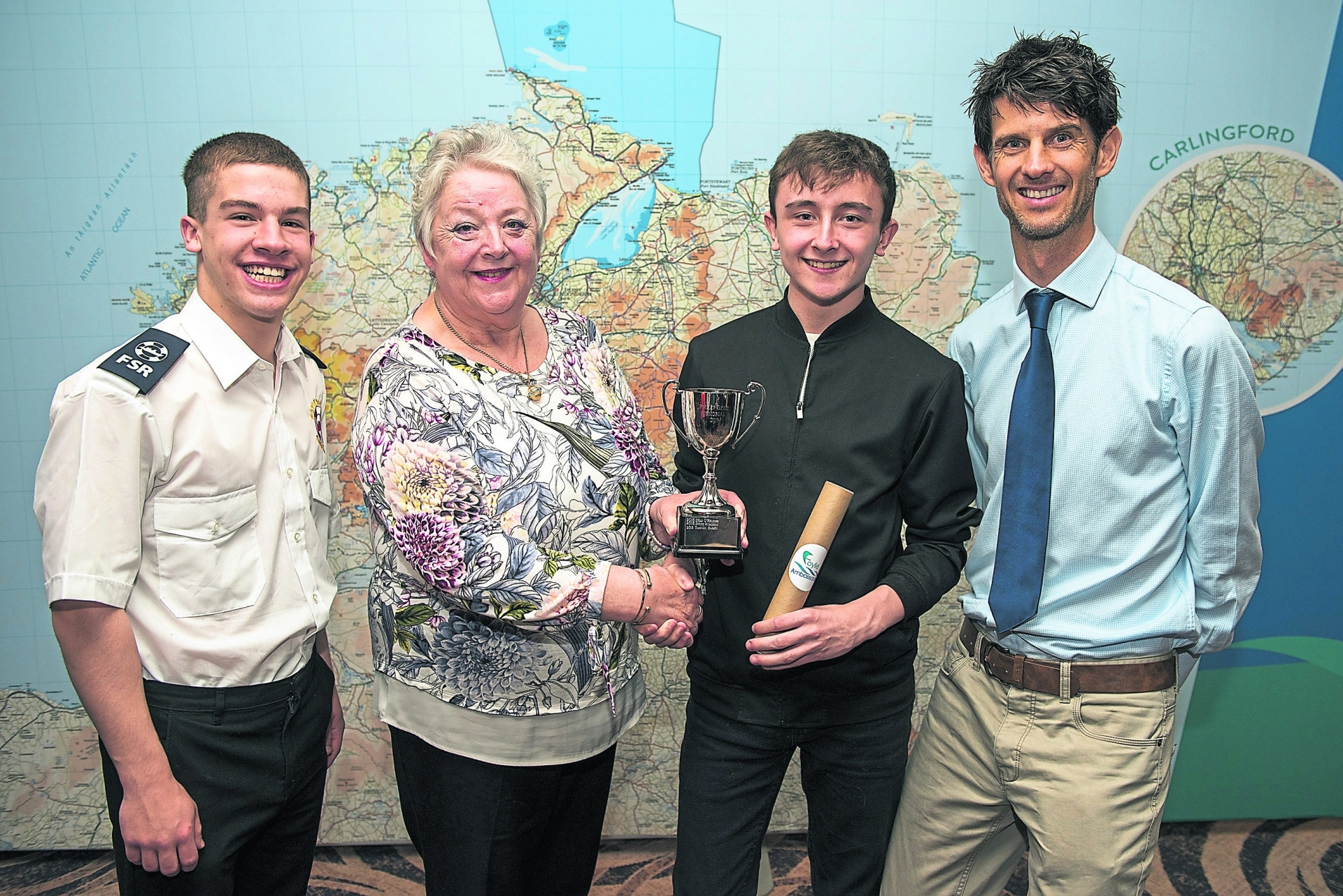 Winner Dylan Sharkey (second from right) with Tiarnan Harkin, Marion Gent and Allan Bogle