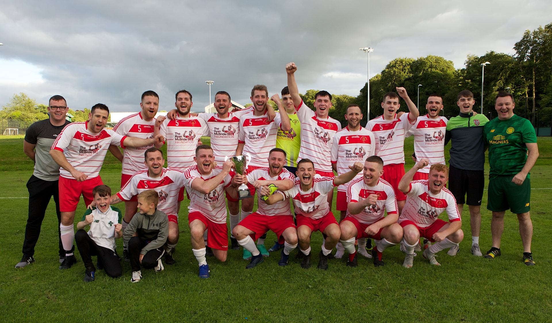 Brandywell Harps celebrate winning the D&D First Division Cup last year,