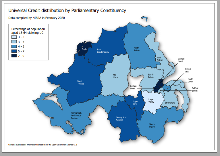 Universal Credit map of Northern Ireland highlighted in Foyle MLA Sinead McLaughlin's speech at the Assembly in Stormont