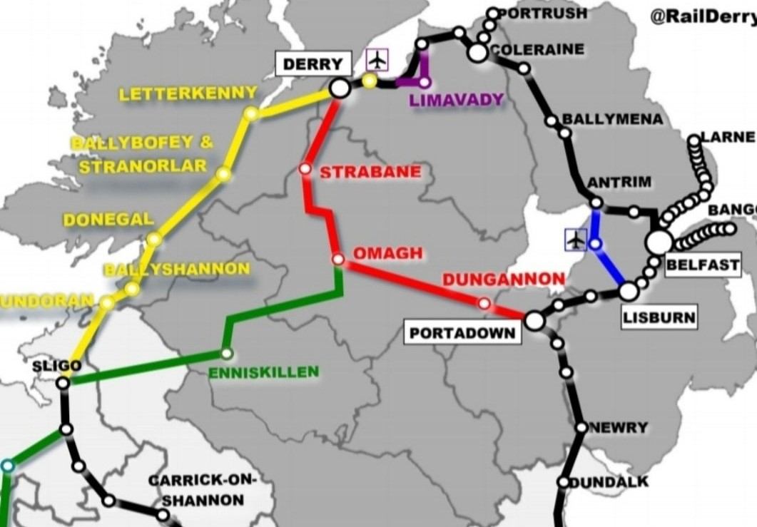 How an expanded rail network from Derry to the west and south of Ireland might look